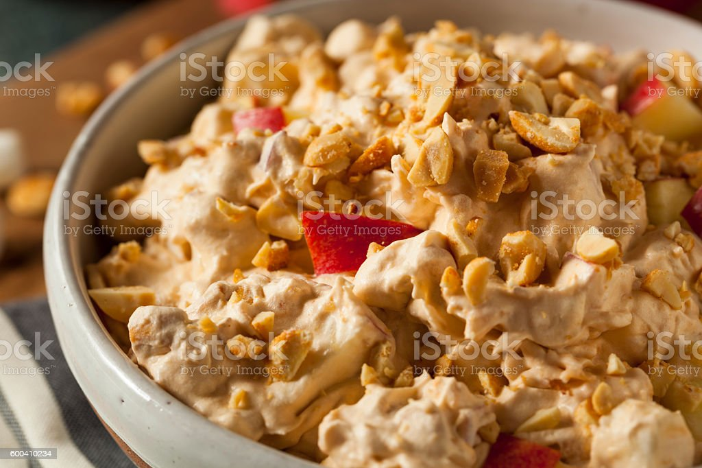 Homemade Sweet Candy Apple Salad stock photo