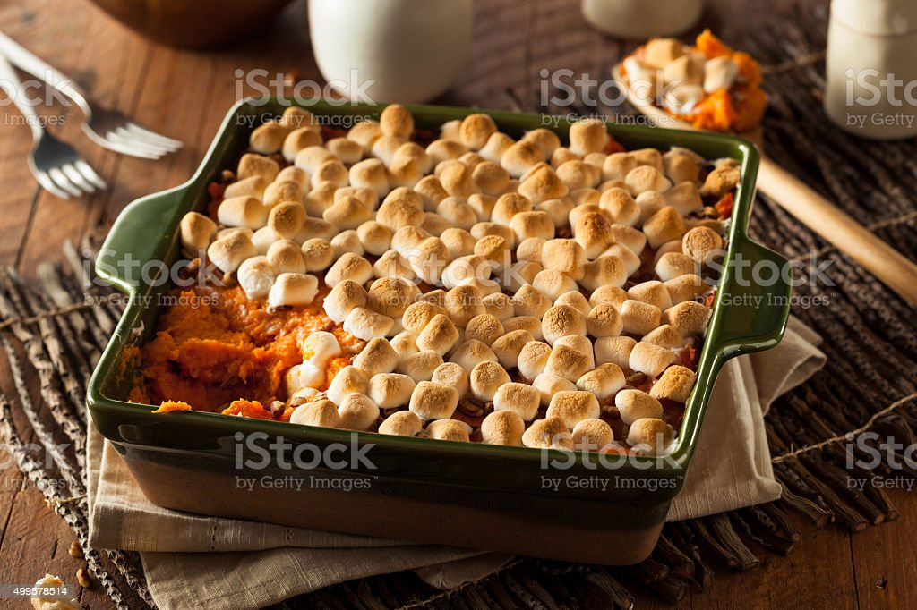 Homemade Sweet Potato Casserole stock photo