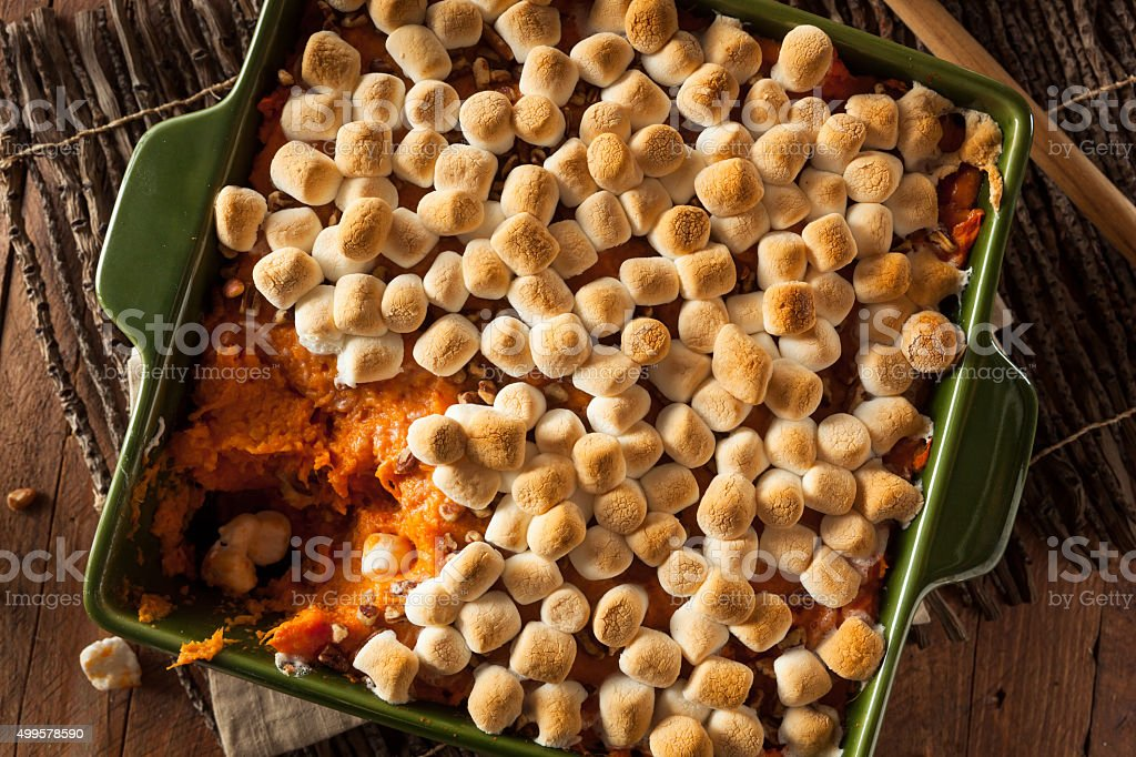 Homemade Sweet Potato Casserole stock photo