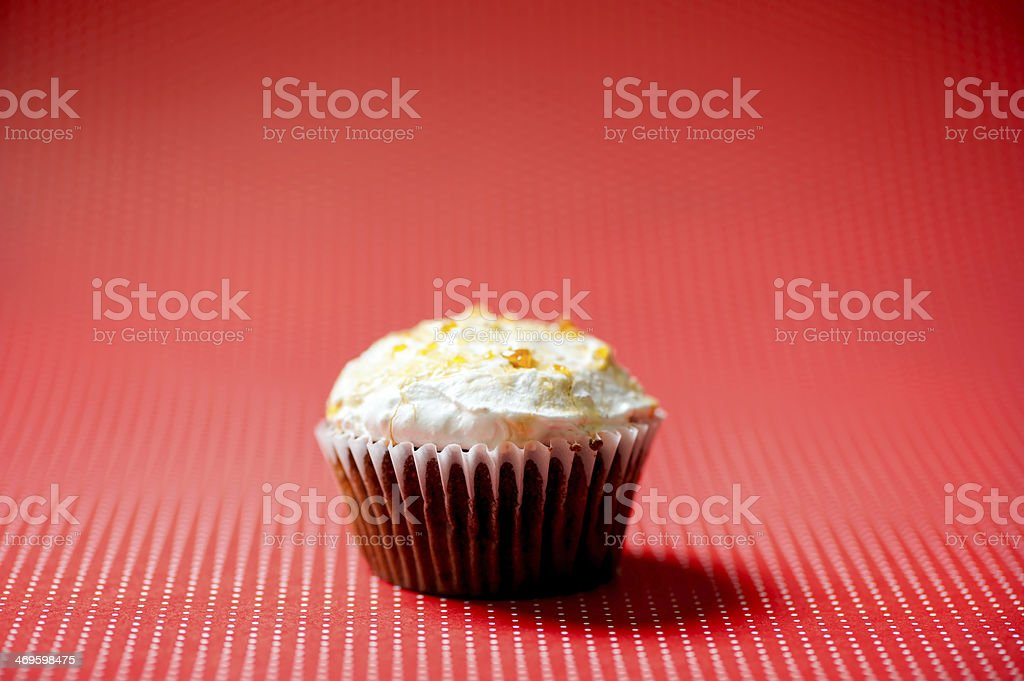 Homemade sweet vanilla and chocolate cupcake with buttercream an royalty-free stock photo