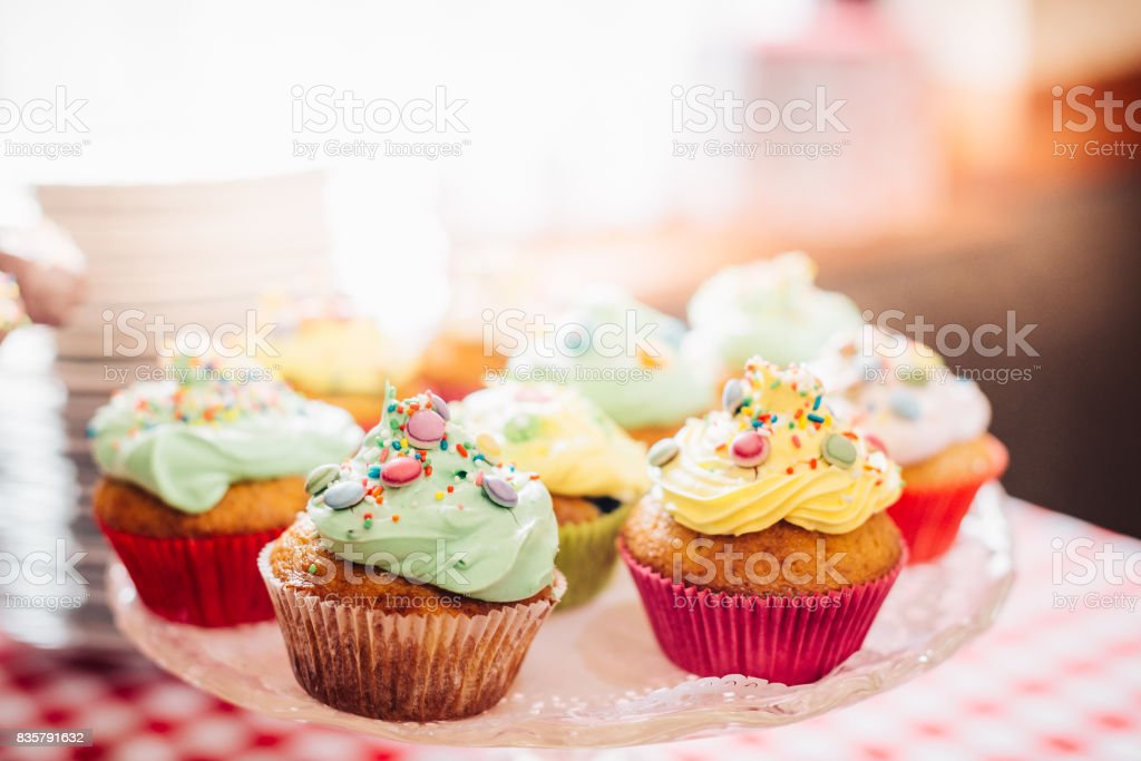 Homemade Sweets Muffins in Sweets Shop Closeup Background stock photo