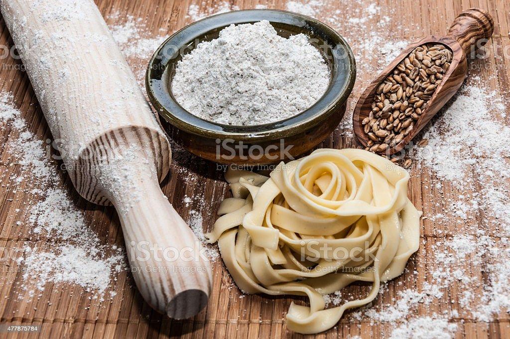 Homemade tagliatelle stock photo