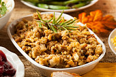 Homemade thanksgiving stuffing in a white bowl