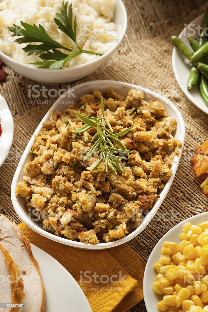 Homemade Thanksgiving Stuffing stock photo