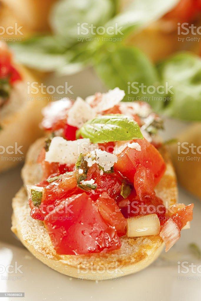 Homemade Tomato and Basil Bruschetta royalty-free stock photo