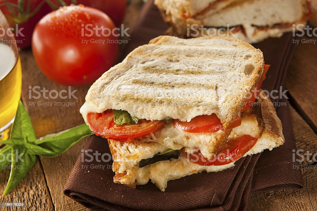 Homemade Tomato and Mozzarella Panini royalty-free stock photo