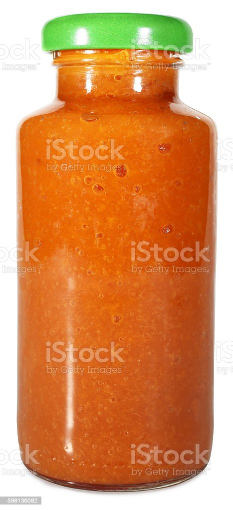 Homemade tomato sauce ketchup in glass jar stock photo