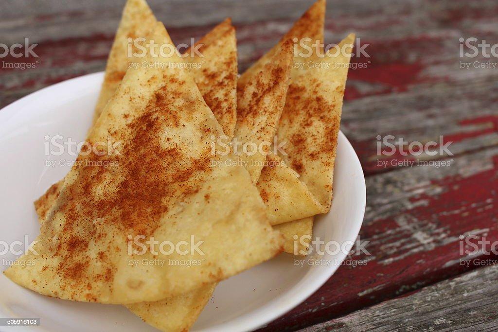 homemade tortilla chips stock photo