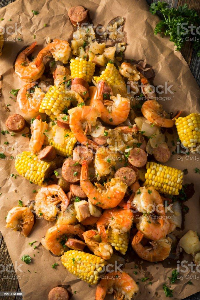 Homemade Traditional Cajun Shrimp Boil stock photo