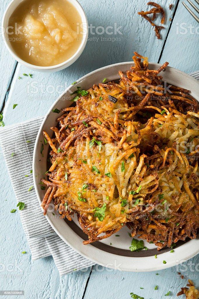 Homemade Traditional Potato Latkes stock photo