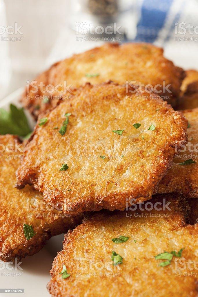 Homemade Traditional Potato Pancake Latke stock photo