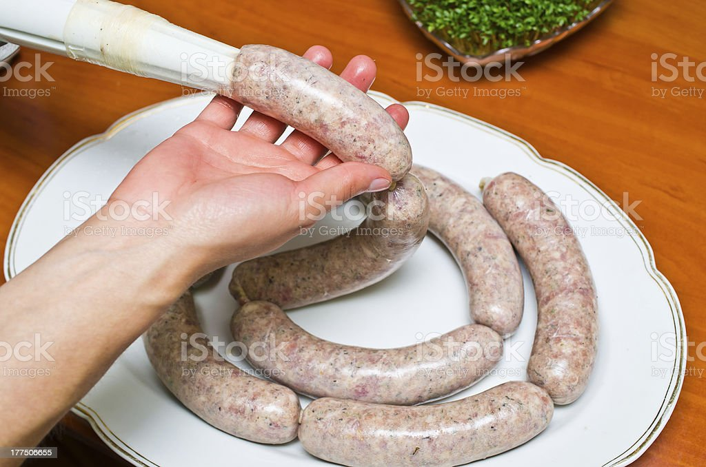 Homemade traditional sausage royalty-free stock photo