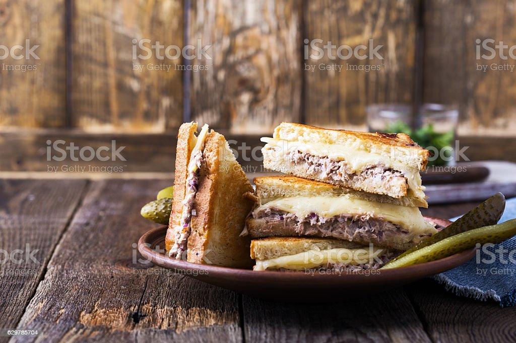 Homemade tuna melt sandwich stock photo