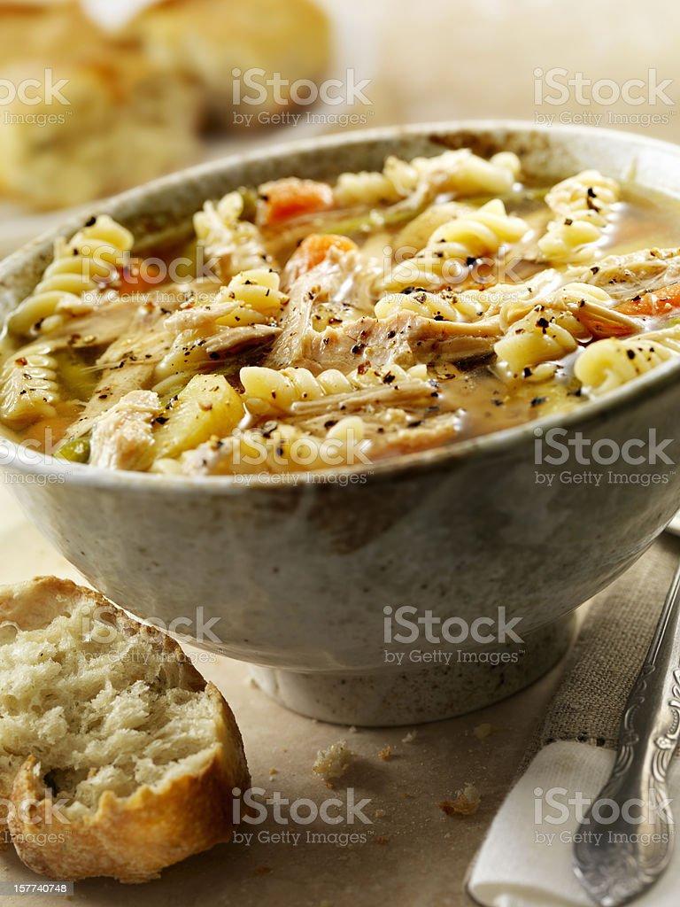Homemade Turkey Noodle Soup stock photo