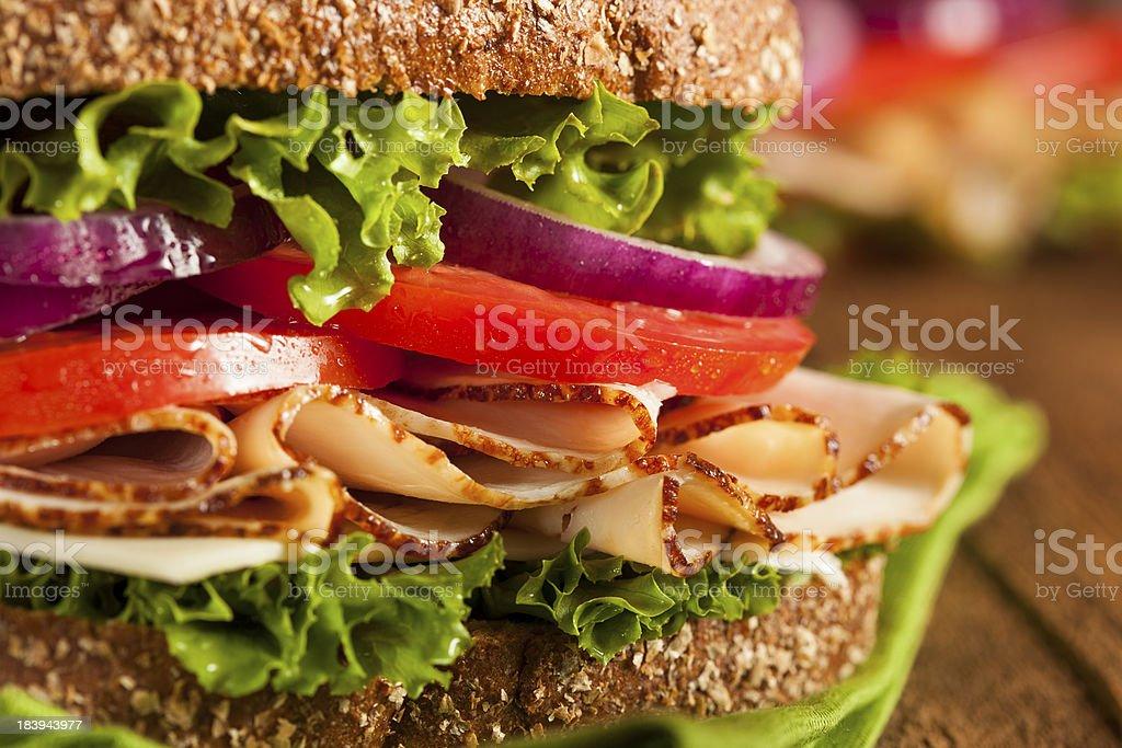 Homemade Turkey Sandwich royalty-free stock photo