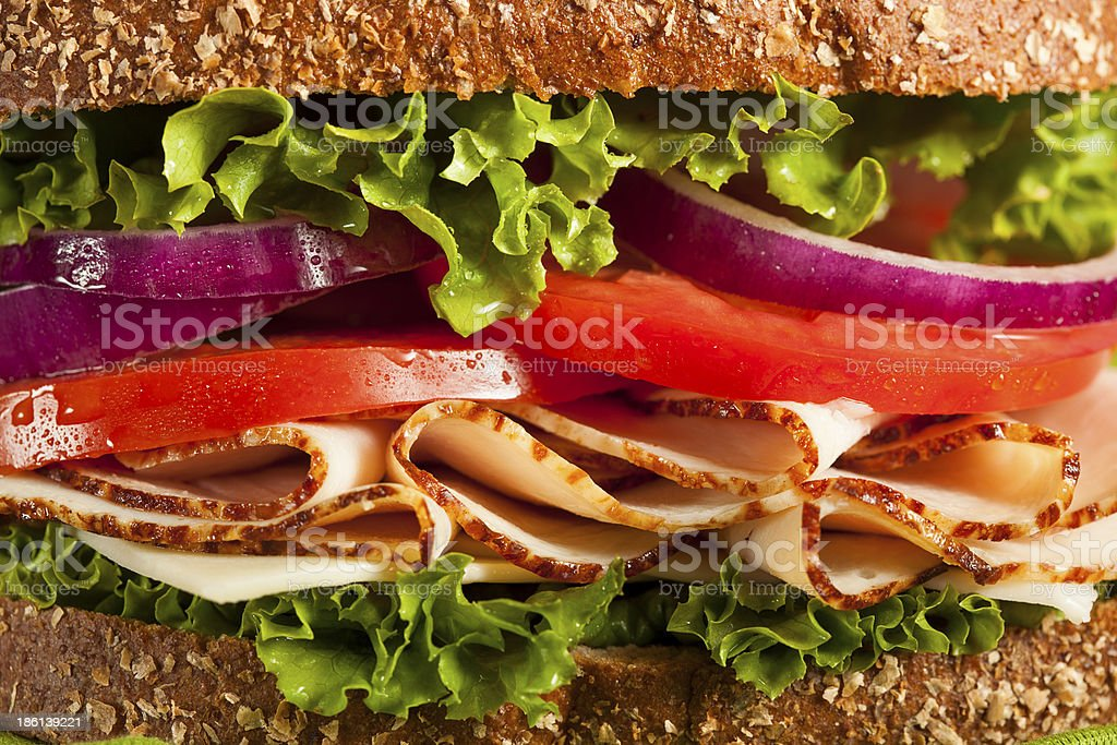 Homemade Turkey Sandwich royalty-free stock photo
