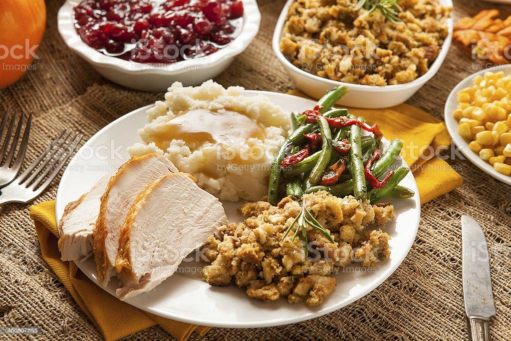 Homemade Turkey Thanksgiving Dinner stock photo