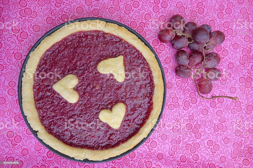 Homemade Valentine's grape pie stock photo