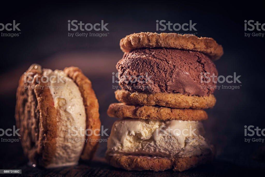 Homemade Vanilla, Chocolate Ice Cream Sandwich stock photo