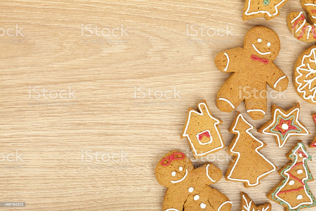 Homemade various christmas gingerbread cookies stock photo
