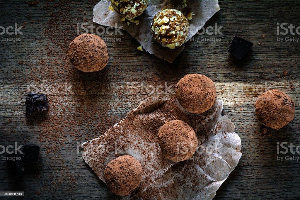 Homemade vegan chocolate truffles stock photo