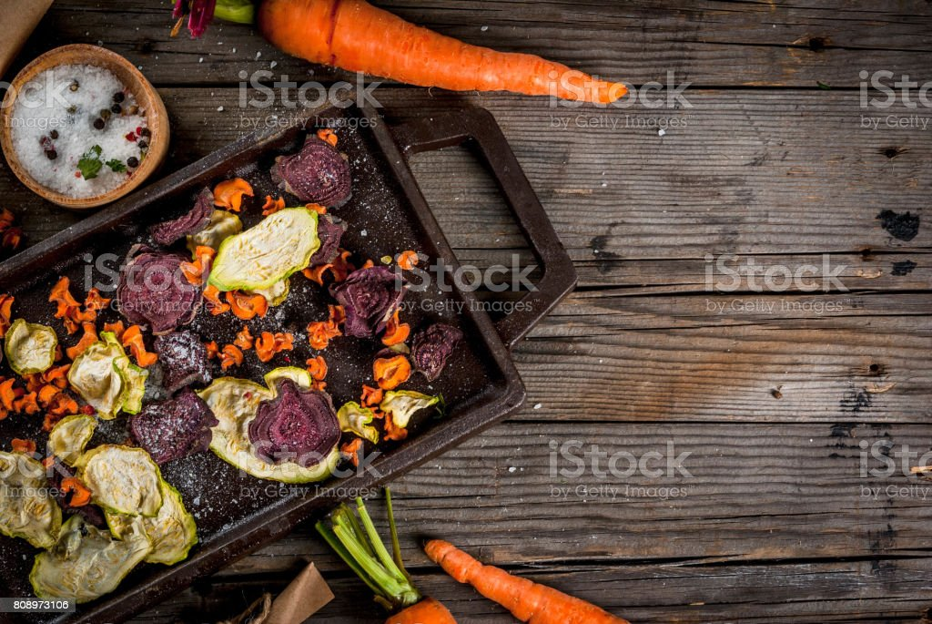 Homemade veggie chips stock photo