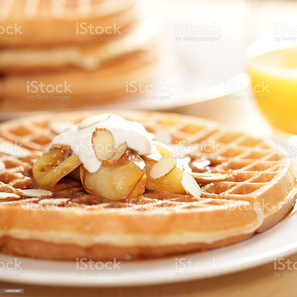 Homemade waffles with apples stock photo