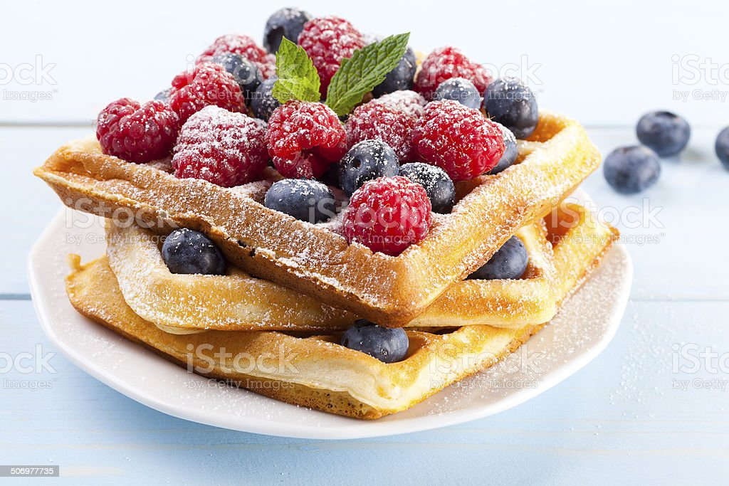 Homemade waffles with fruit stock photo