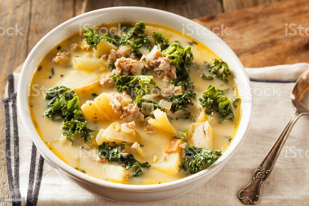 Homemade Warm Creamy Tuscan Soup stock photo