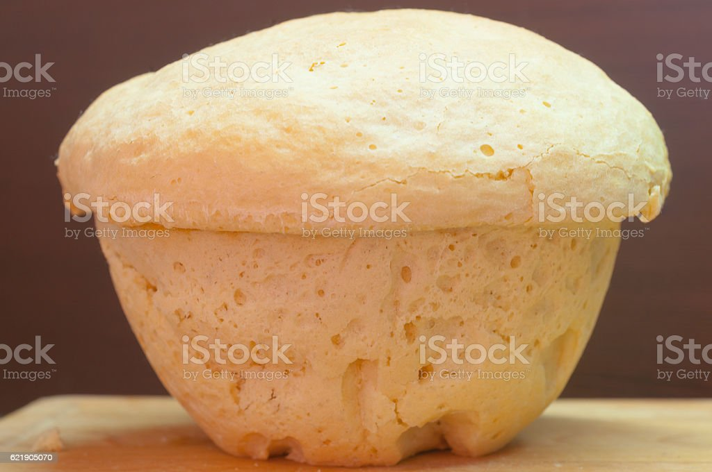 Home-made wheaten bread. Self-made bakery. Healthy natural food. stock photo