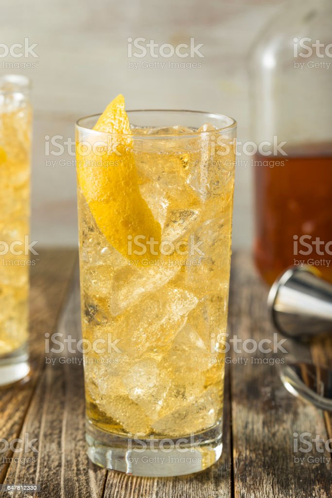 Homemade Whiskey Highball with Soda Water stock photo