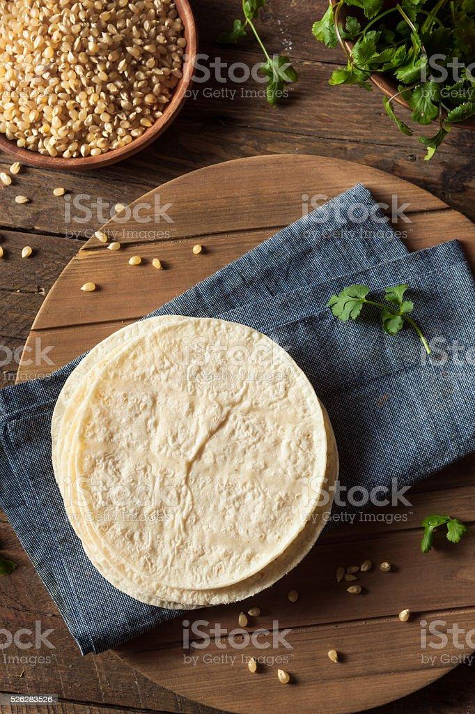 Homemade White Corn Tortillas stock photo