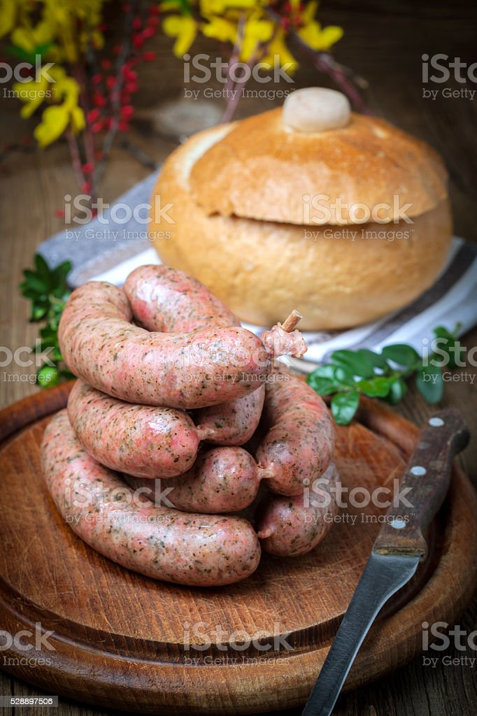 Homemade white sausage out pigs meat. stock photo