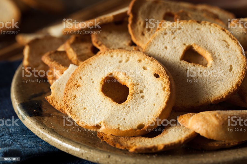 Homemade Whole Wheat Bagel Chips stock photo