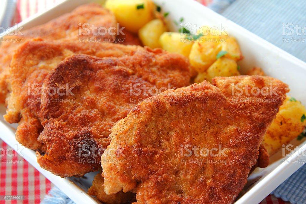 Homemade Wiener Schnitzel, national dish of Austria stock photo