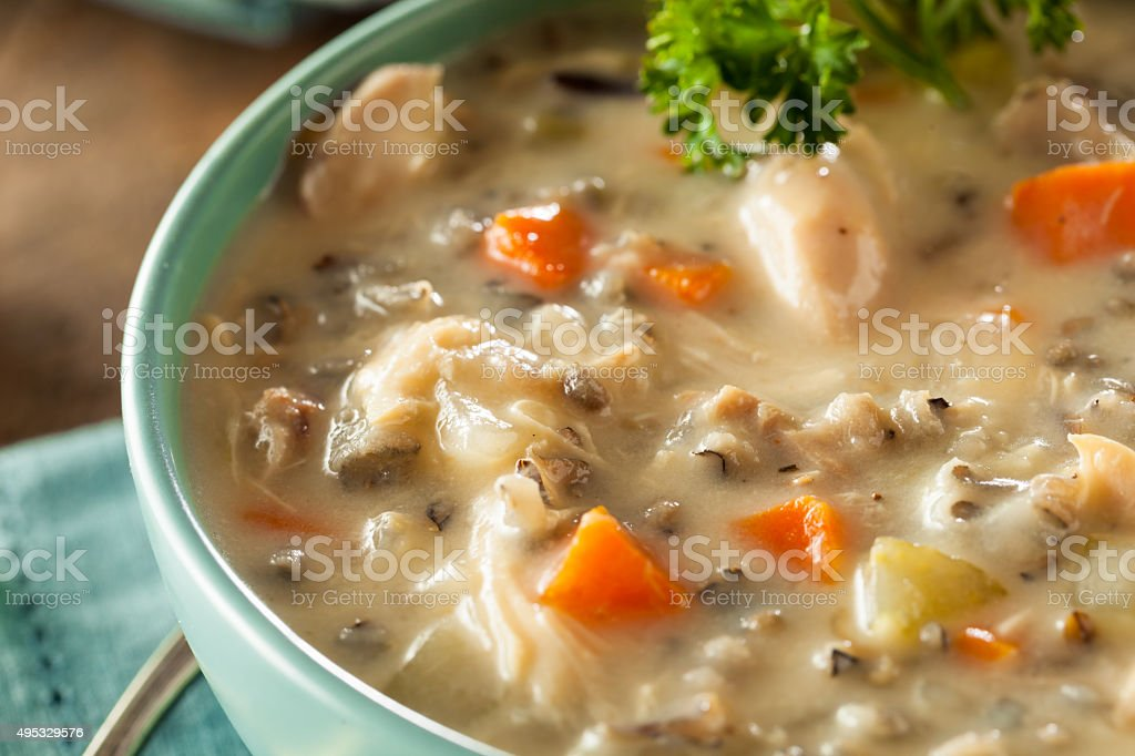 Homemade Wild Rice and Chicken Soup stock photo