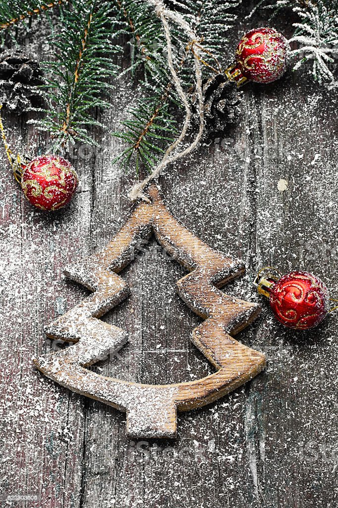 Homemade wooden Christmas ornaments stock photo