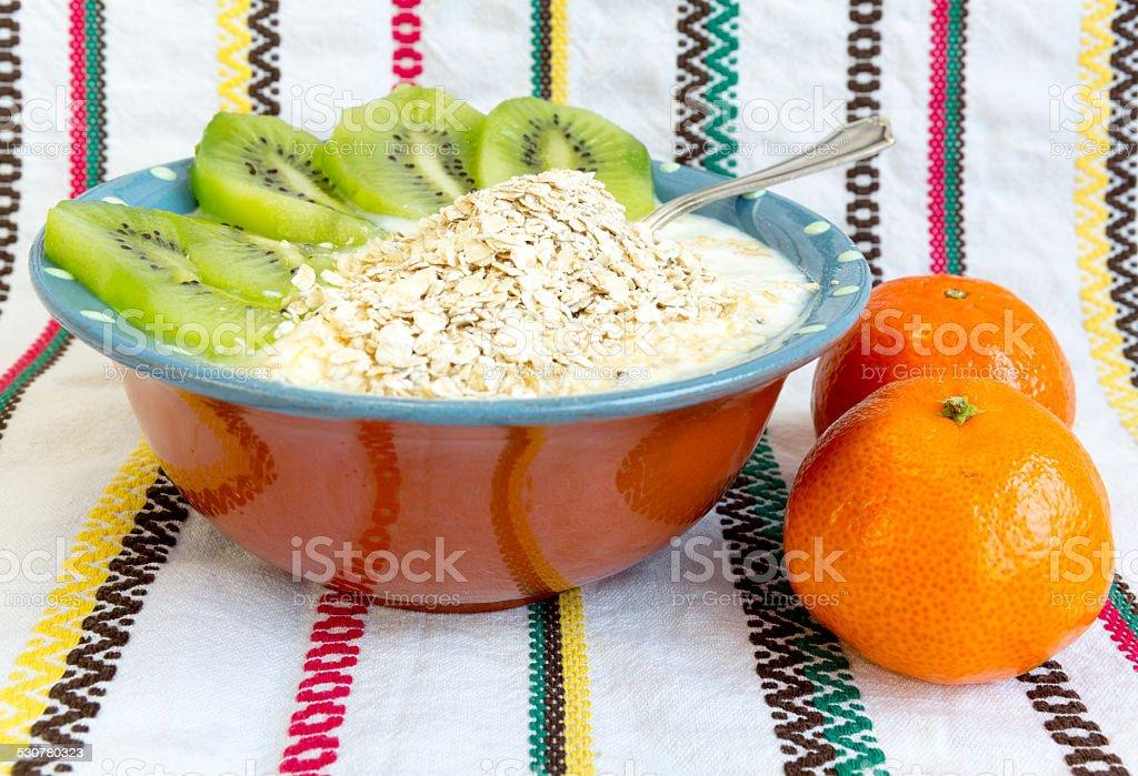 Homemade yoghurt kiwi stock photo