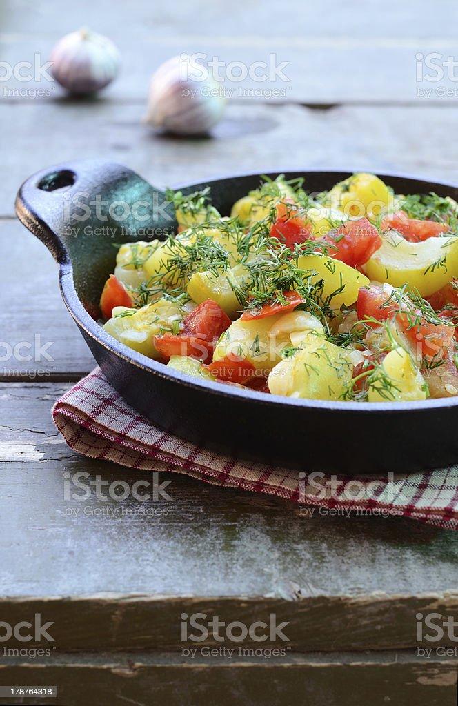 Homemade zucchini and tomato ragout royalty-free stock photo
