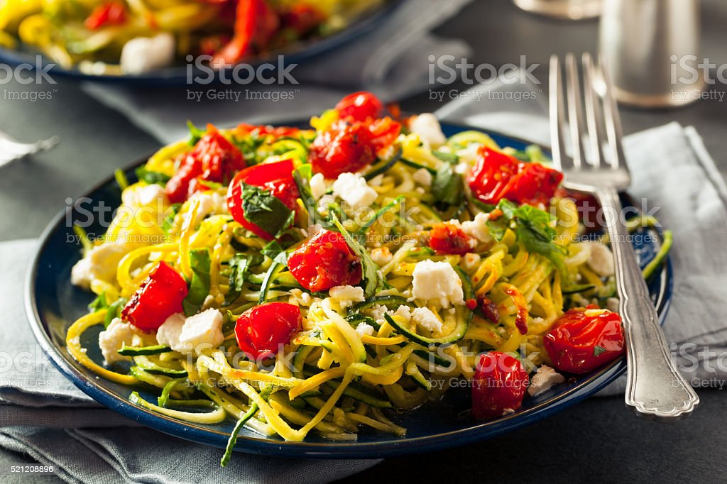 Homemade Zucchini Noodles Zoodles stock photo