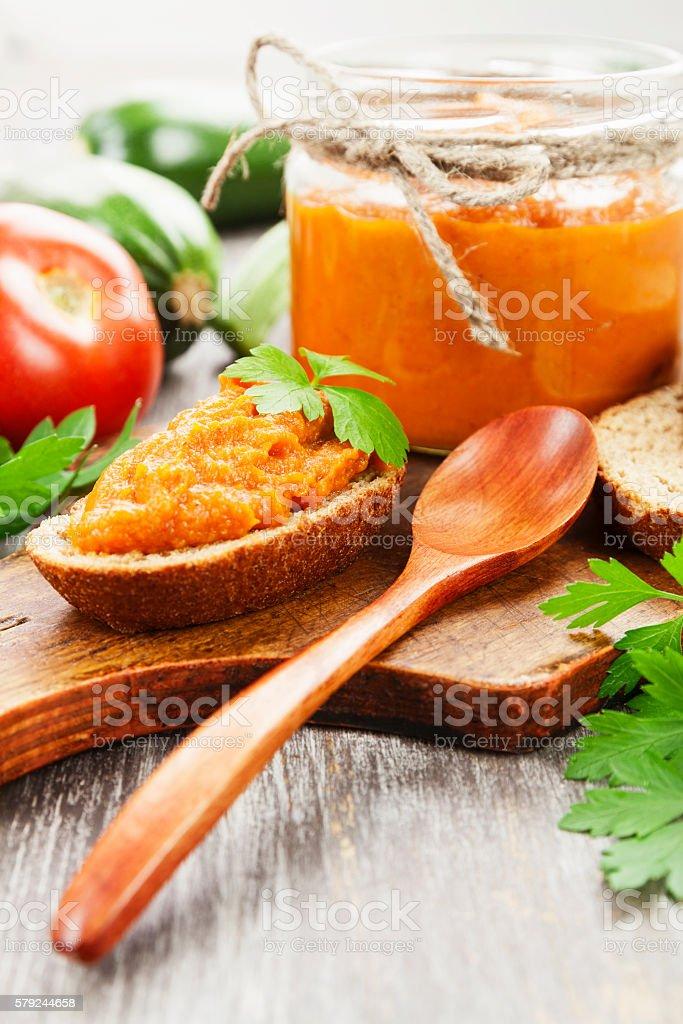 Homemade zucchini puree stock photo