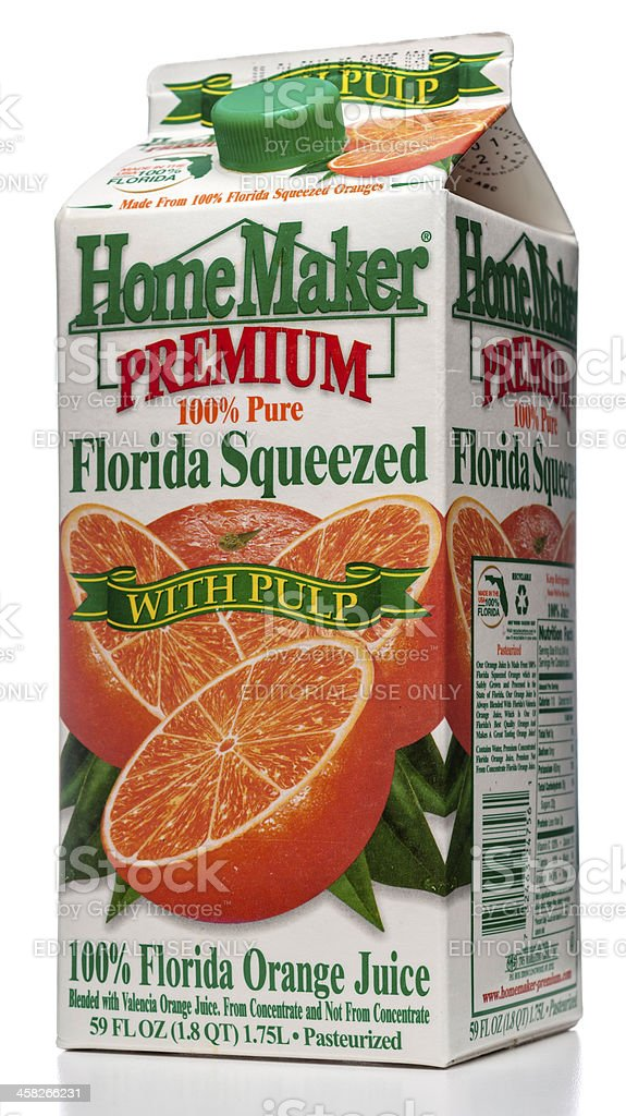 HomeMaker Premium 100% Pure Florida Squeezed juice royalty-free stock photo
