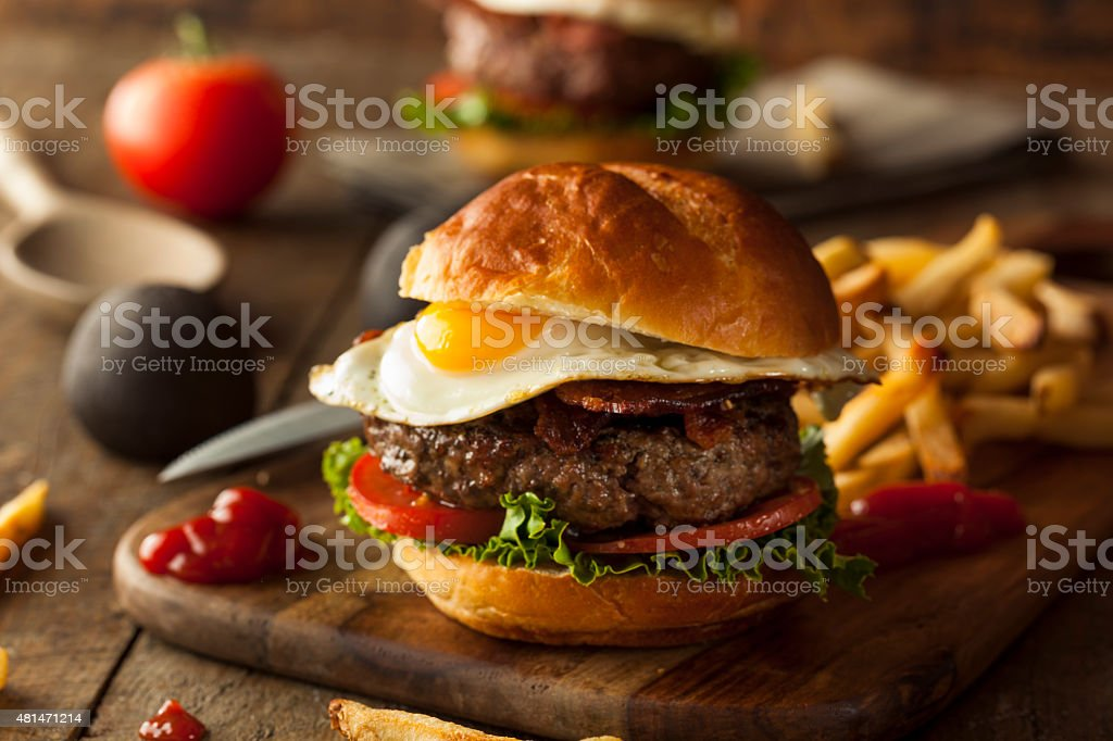 Homemmade Bacon Hamburger with Egg stock photo