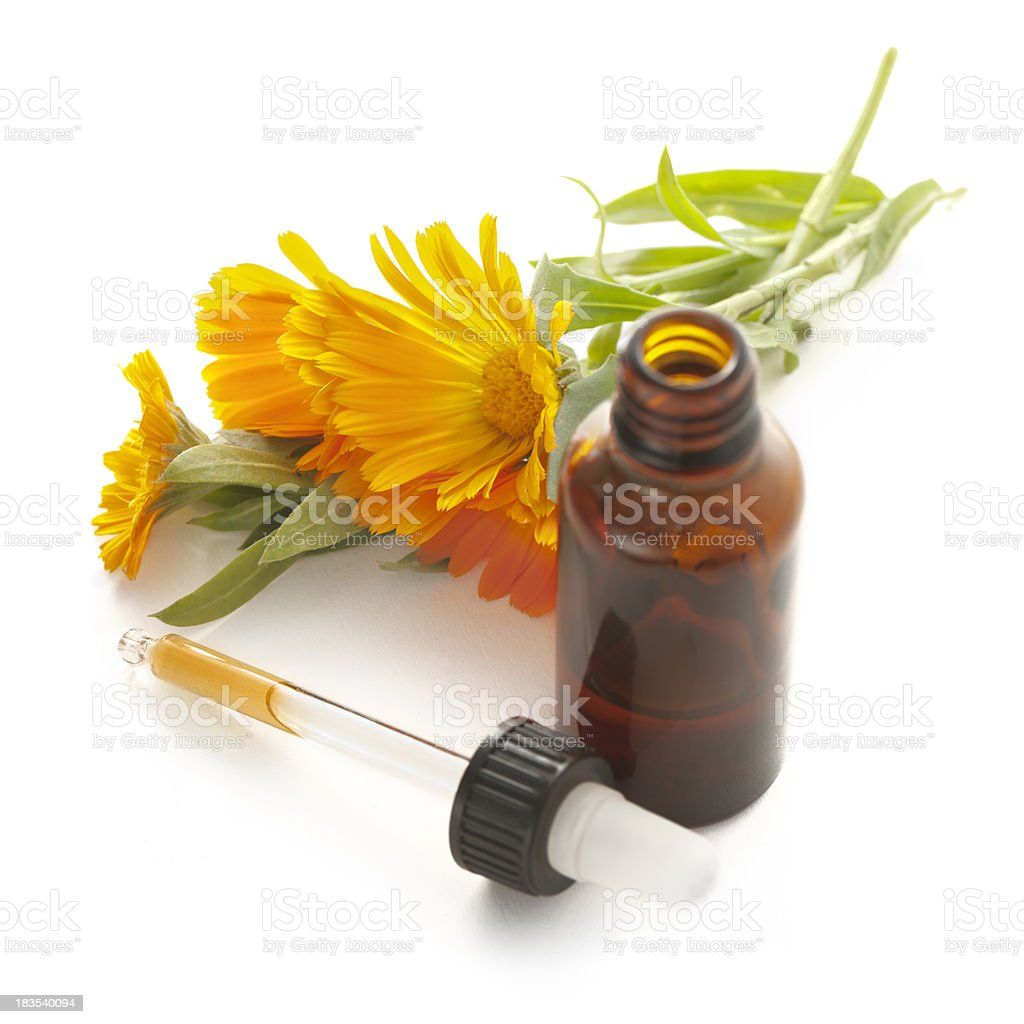 Homeopathic Medicine: Calendula Officinalis stock photo