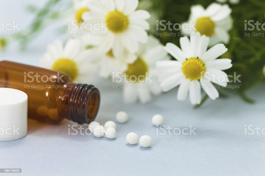 Homeopathic Medicine: Chamomile stock photo