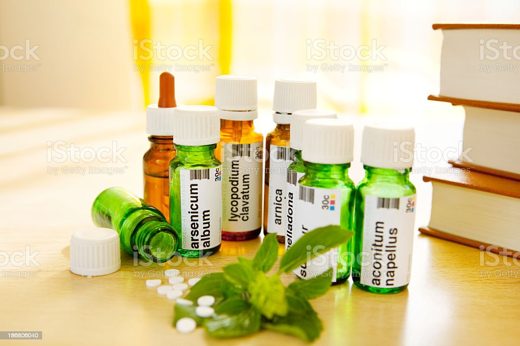 Homeopathic Medicine: Remedies and Books royalty-free stock photo