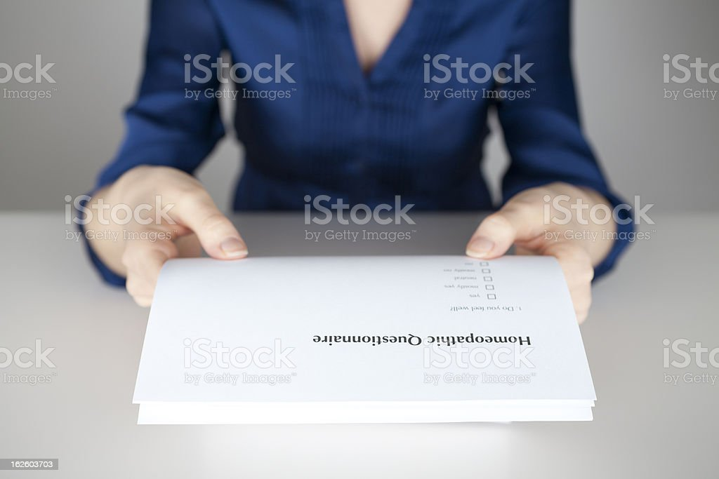 Homeopathic questionnaire royalty-free stock photo