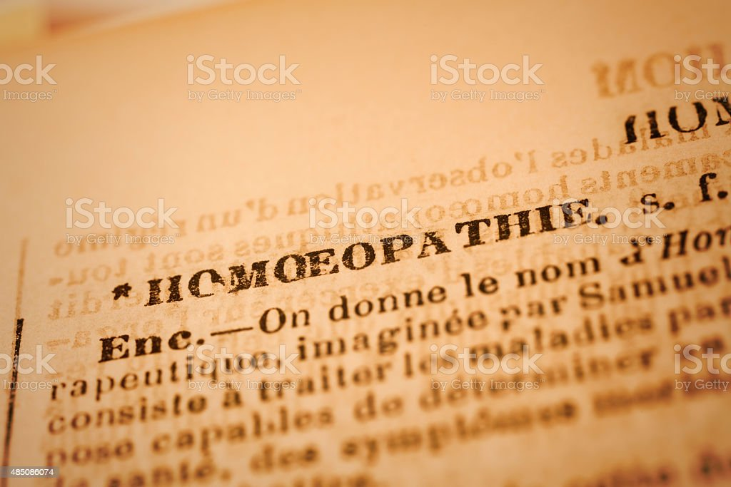Homeopathie: French Dictionary Close-up stock photo