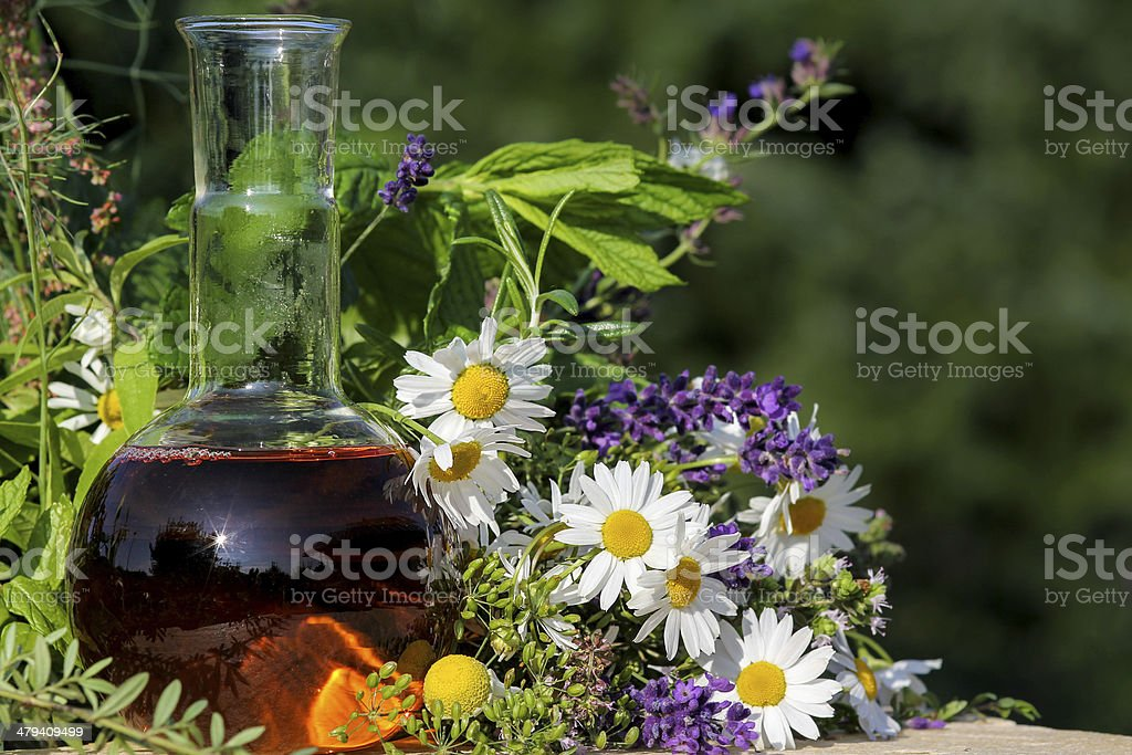 Homeopathy and cooking with medical plants stock photo