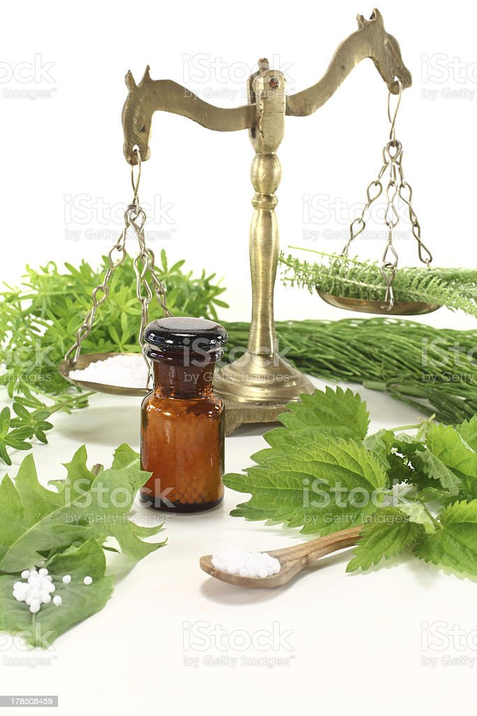 Homeopathy with herbs royalty-free stock photo